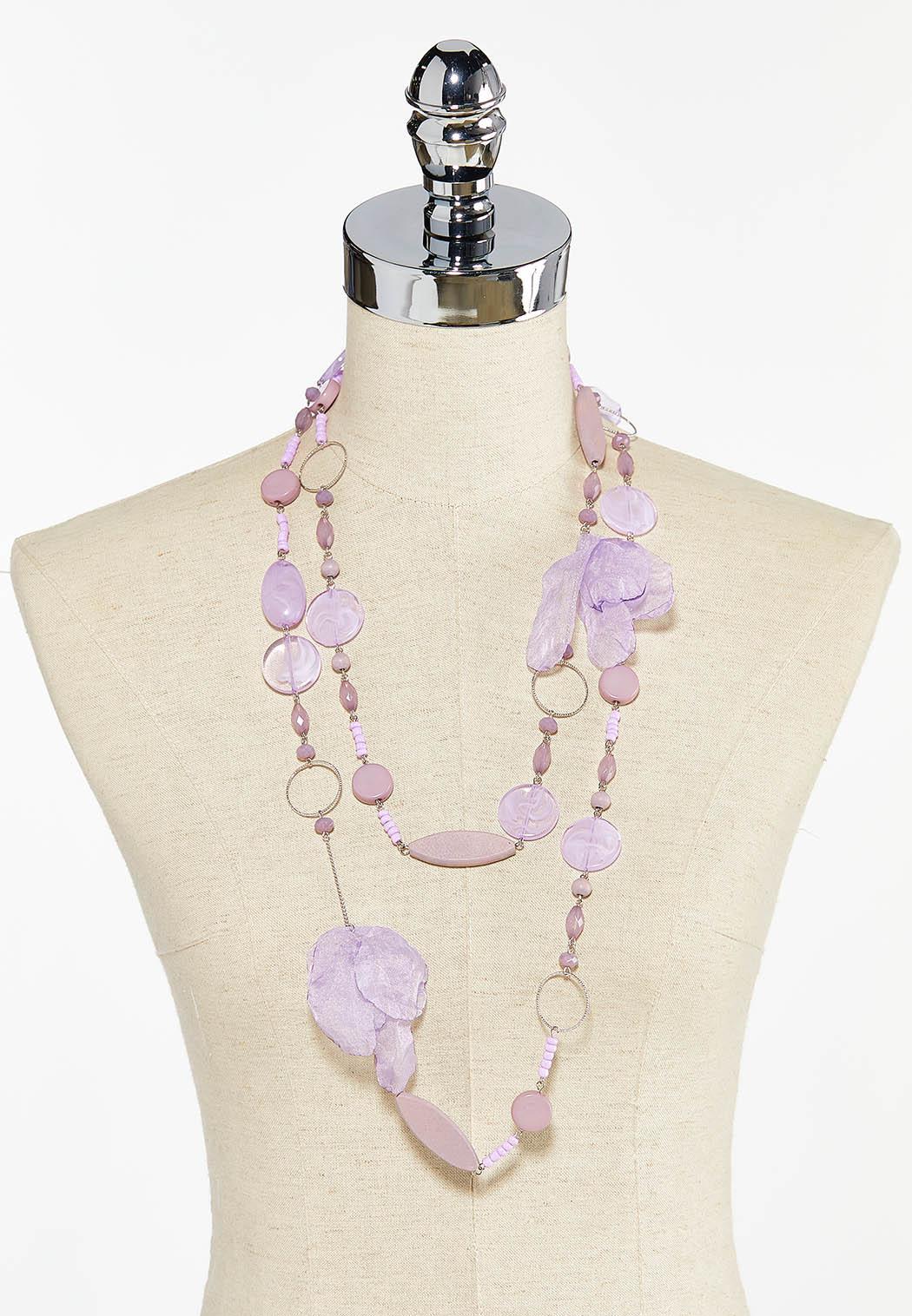 Beaded Chiffon Petal Layered Necklace (Item #44503792)