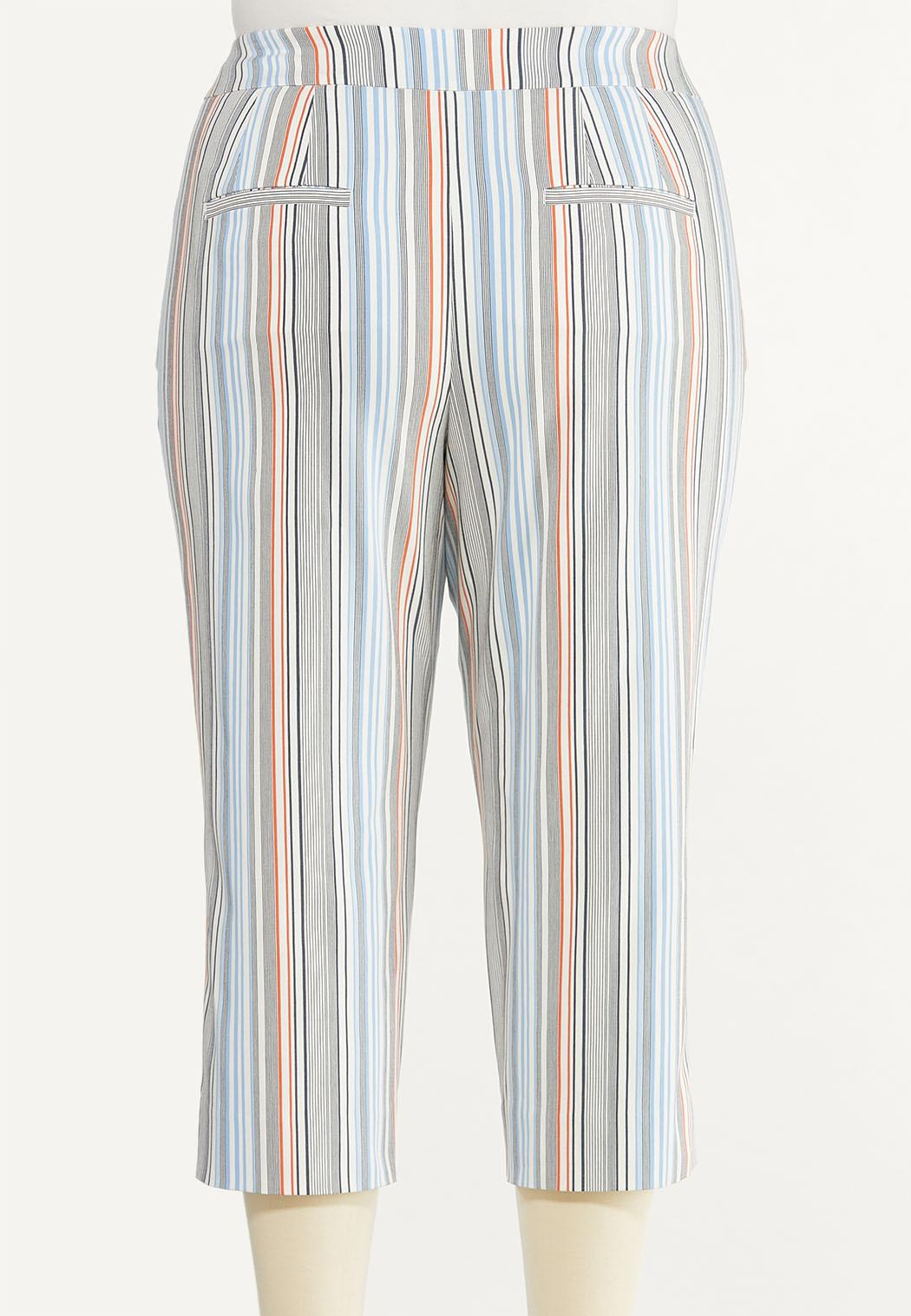 Plus Size Cropped Striped Pants (Item #44503974)