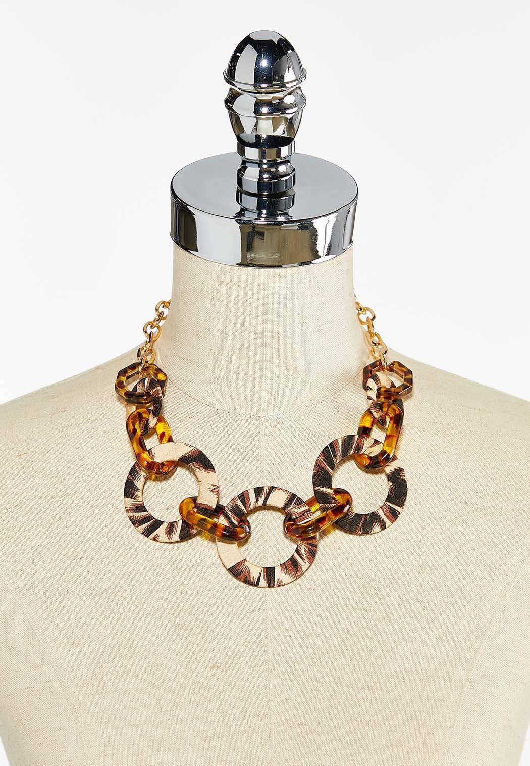 Tribal Fabric Wrapped Link Necklace (Item #44504020)