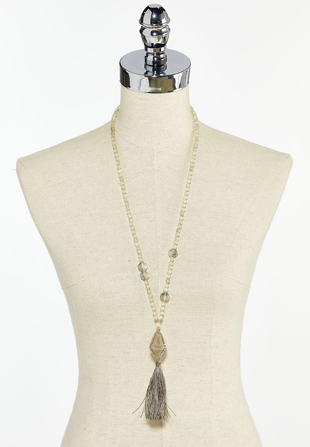 Beaded Fabric Tassel Necklace (Item #44504102)