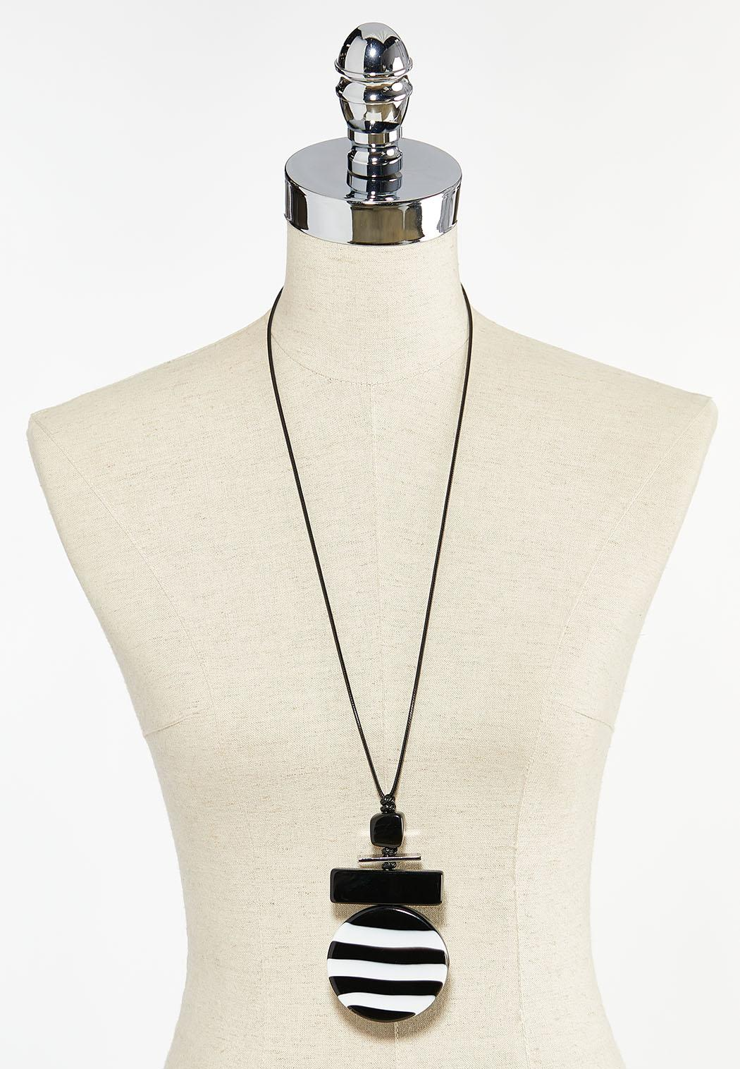 Striped Lucite Pendant Cord Necklace (Item #44504270)