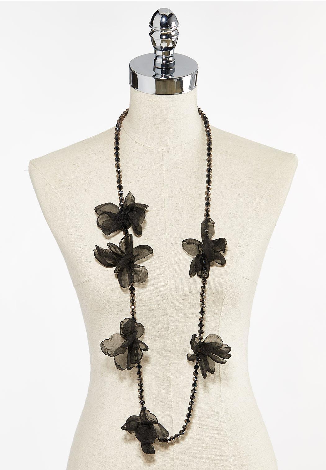 Chiffon Petal Beaded Necklace (Item #44504276)
