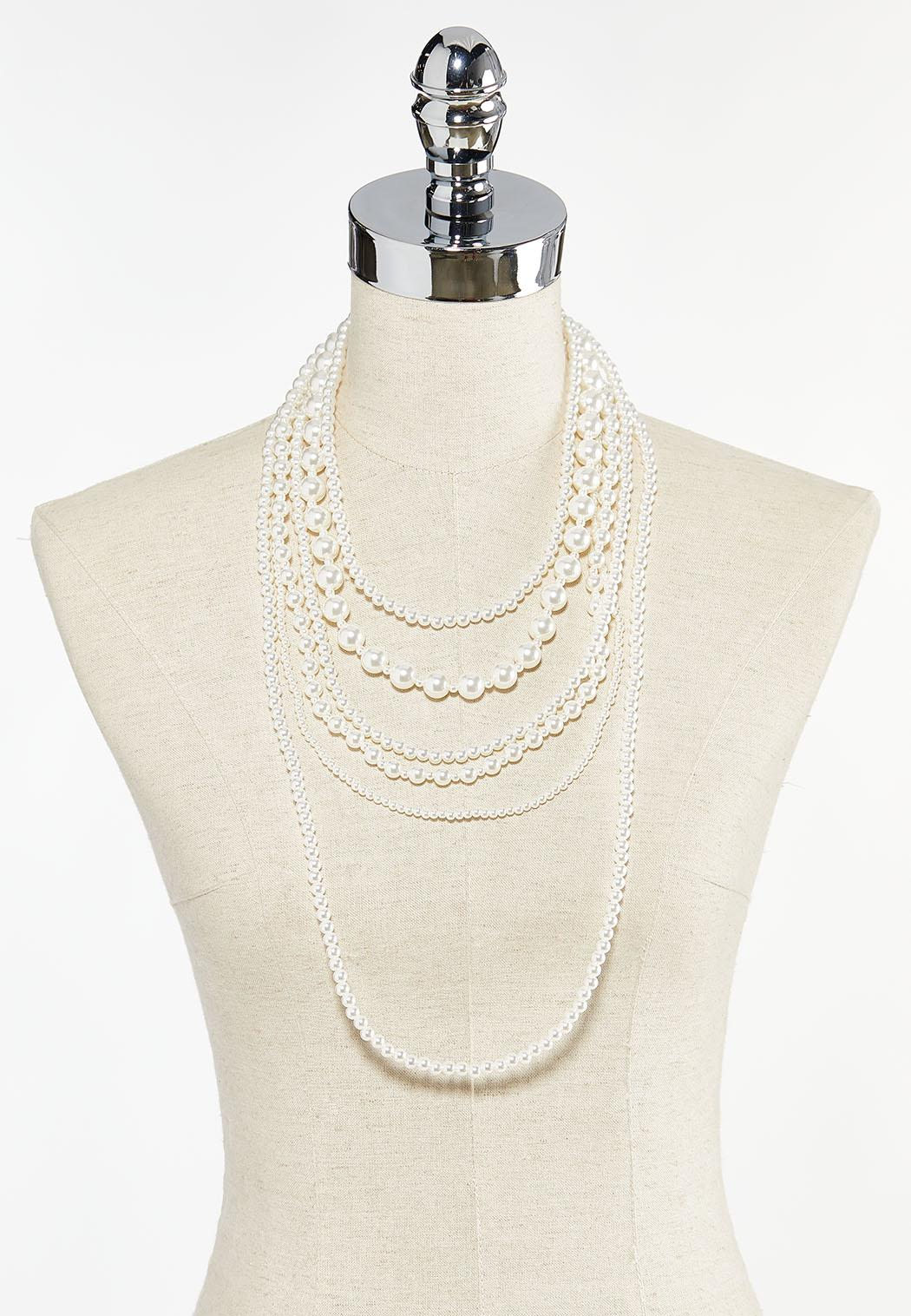 Mixed Layered Pearl Necklace (Item #44504380)