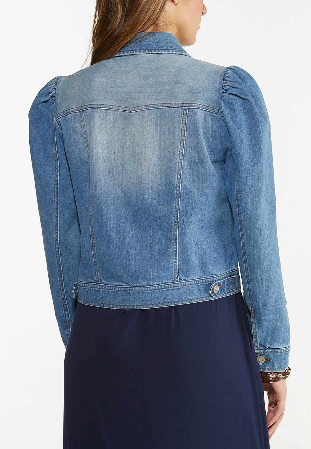 Puff Sleeve Denim Jacket (Item #44504656)
