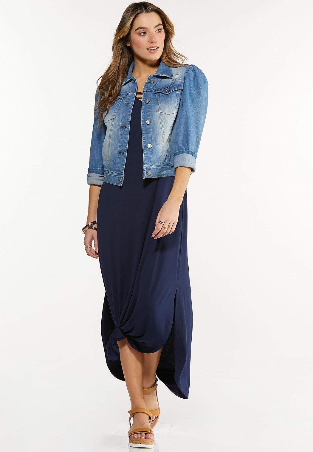 Plus Size Puff Sleeve Denim Jacket (Item #44504754)