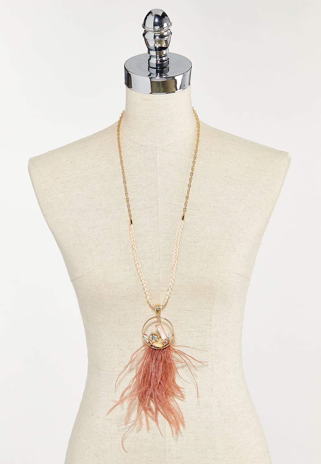 Rose Wispy Feather Pendant Necklace (Item #44505560)
