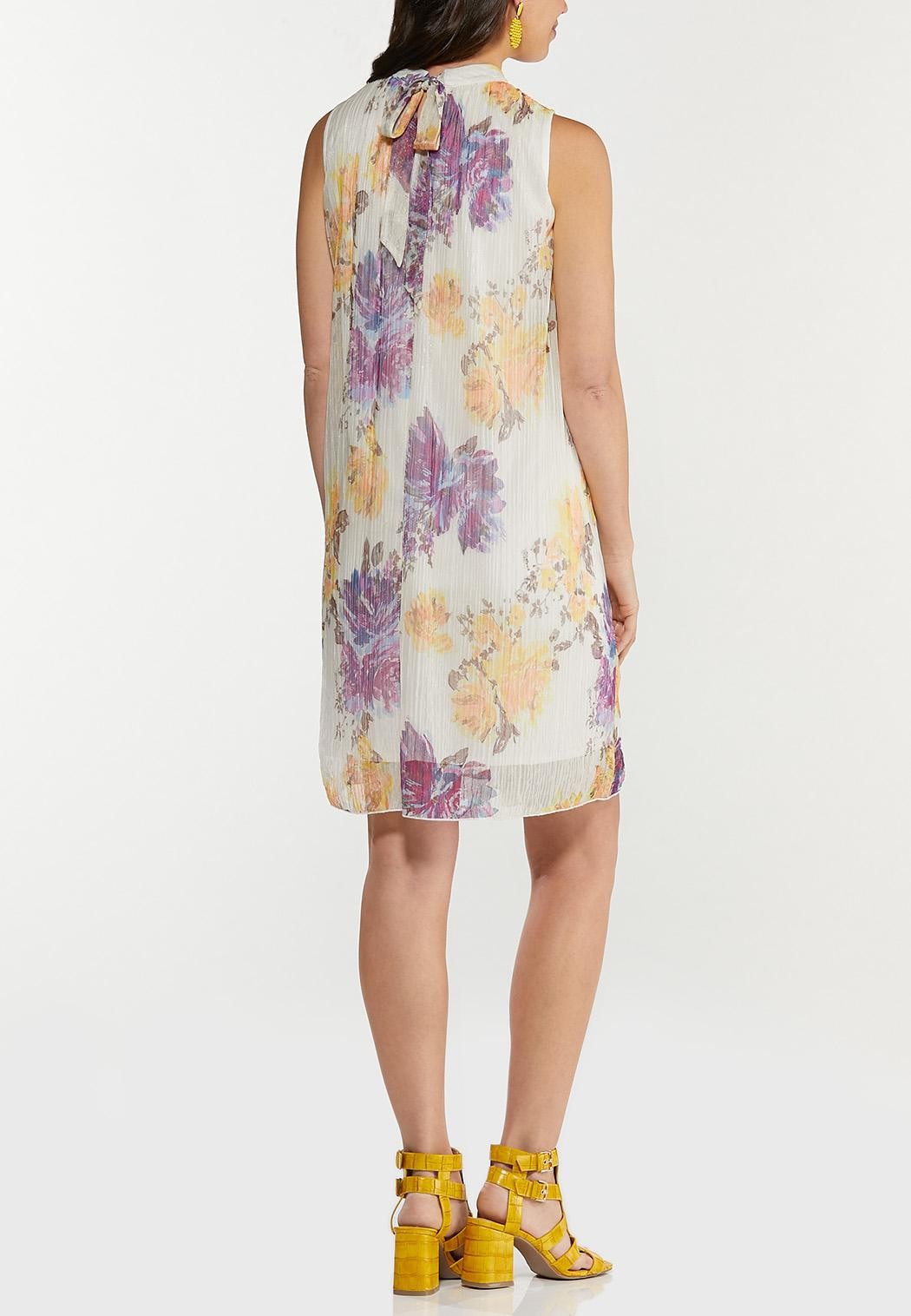 Plus Size Shimmer Floral Pleated Dress (Item #44505902)