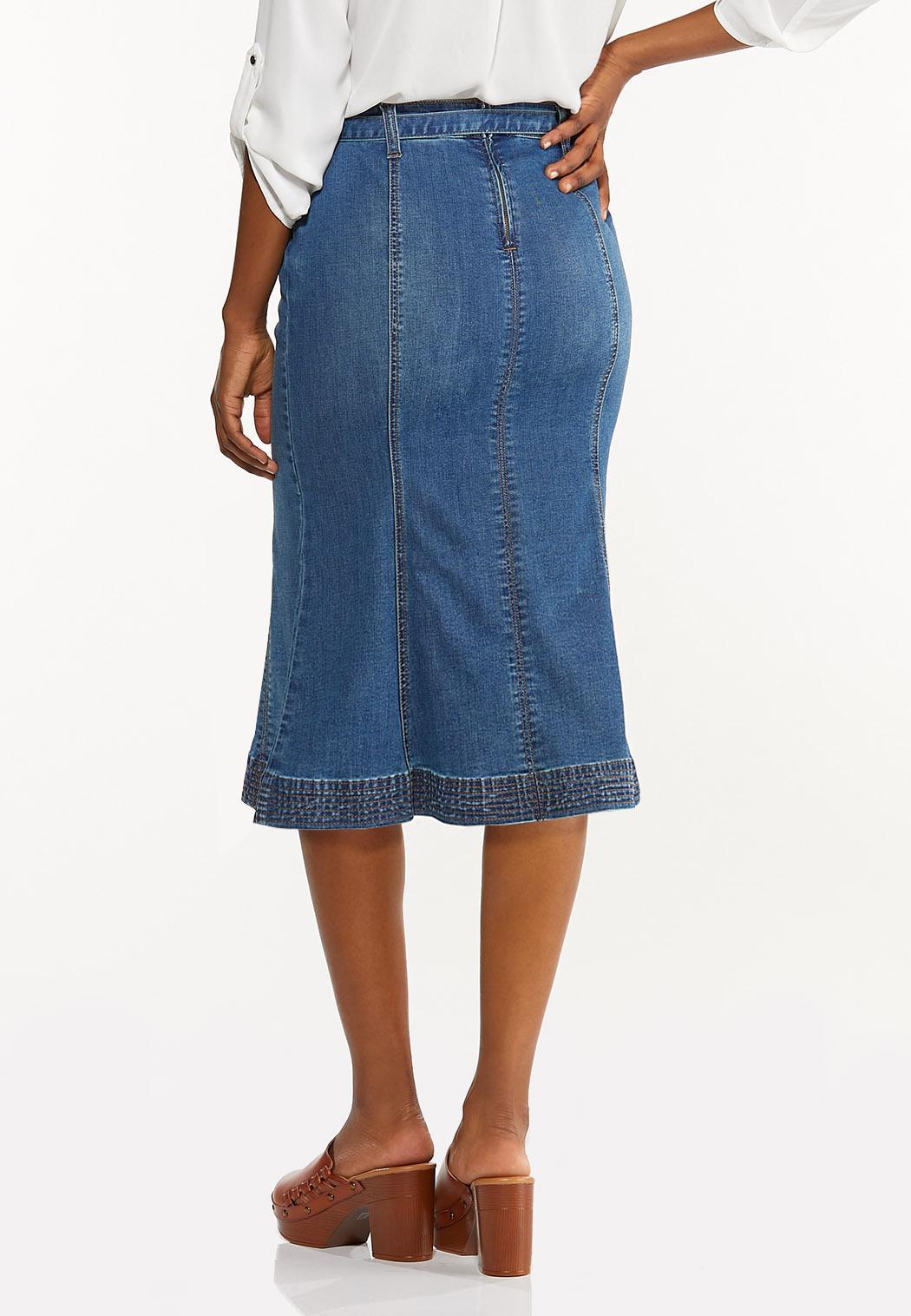 Plus Size Tulip Denim Skirt (Item #44506373)