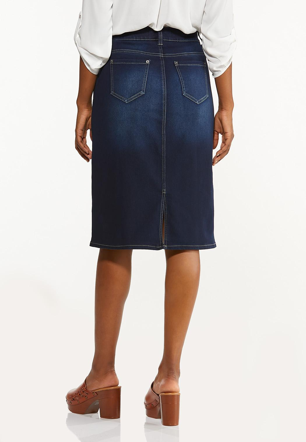 Classic Dark Wash Denim Skirt (Item #44506397)