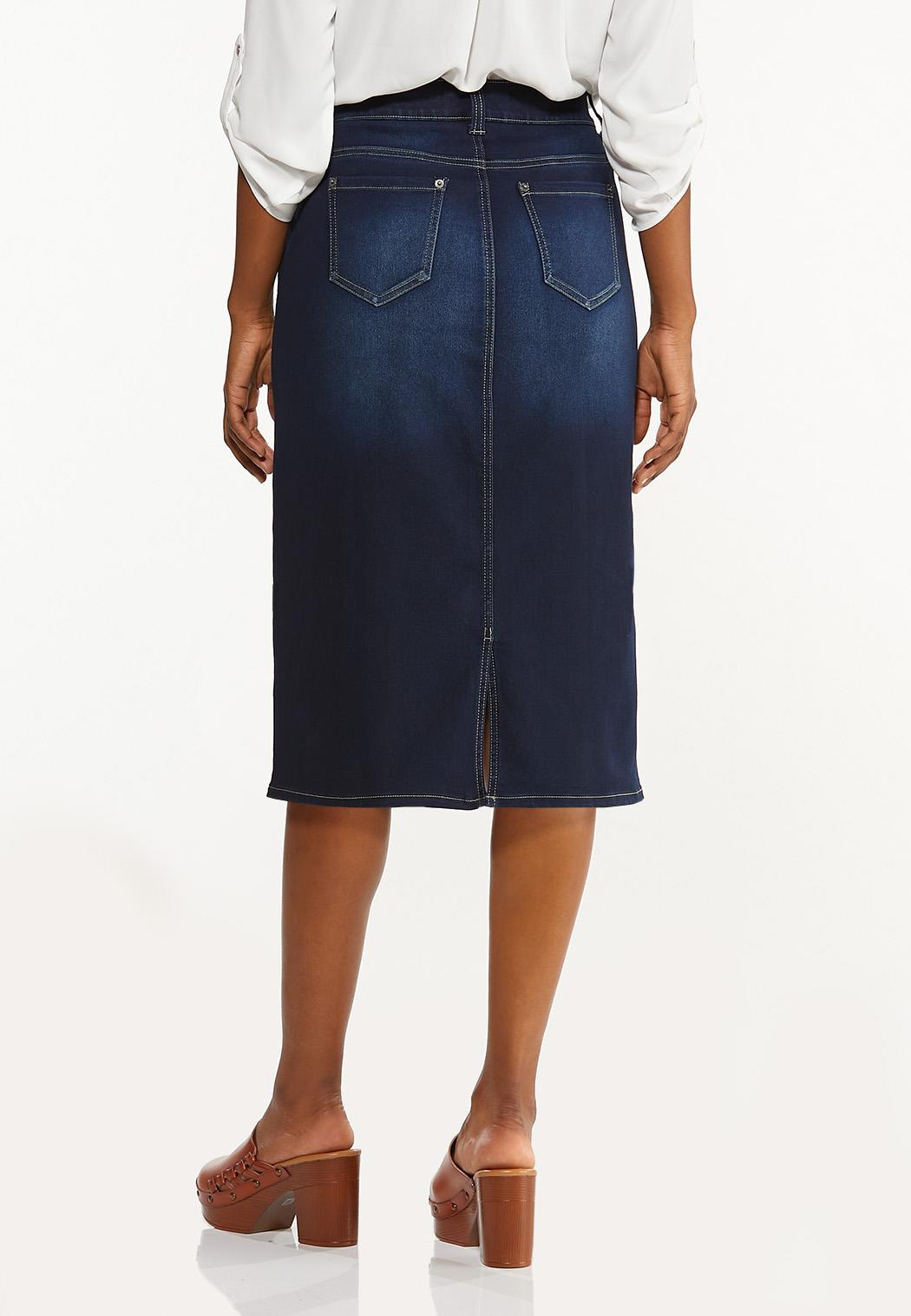 Plus Size Classic Dark Wash Denim Skirt (Item #44506420)