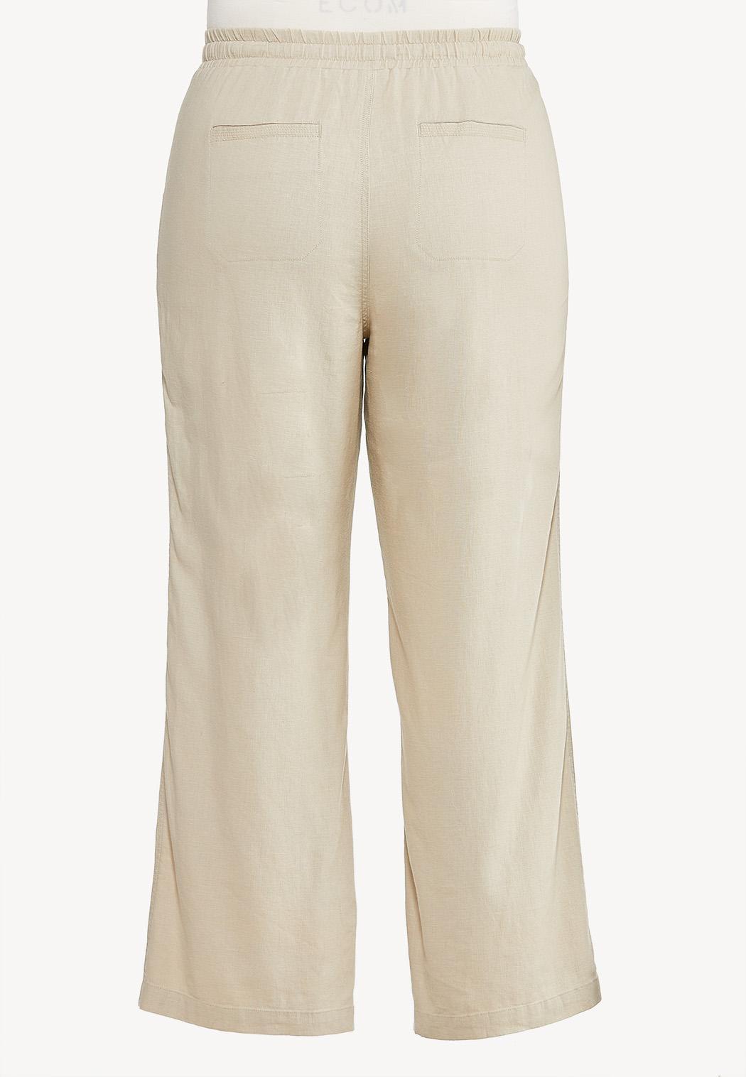 Plus Size Drawstring Linen Pants (Item #44507396)