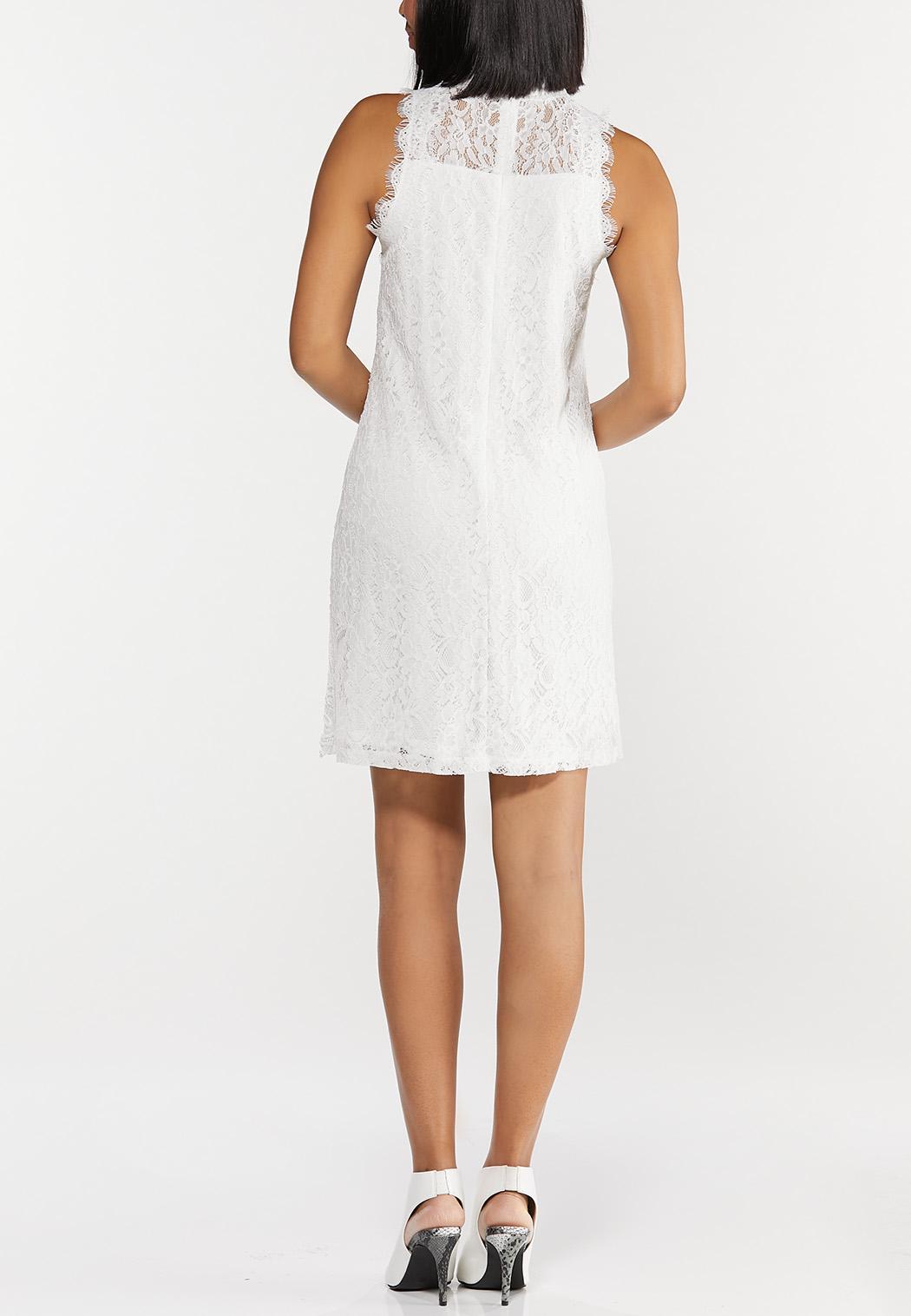 Lace Mock Neck Shift Dress (Item #44507455)