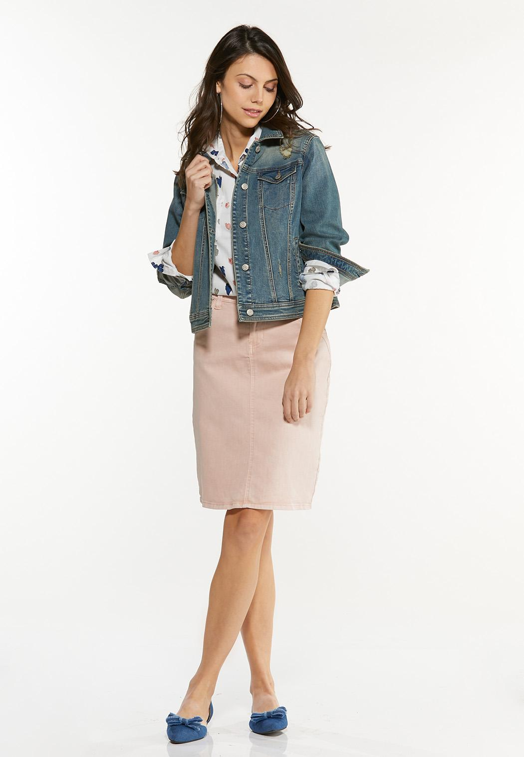 Plus Size Blush Denim Skirt (Item #44507903)