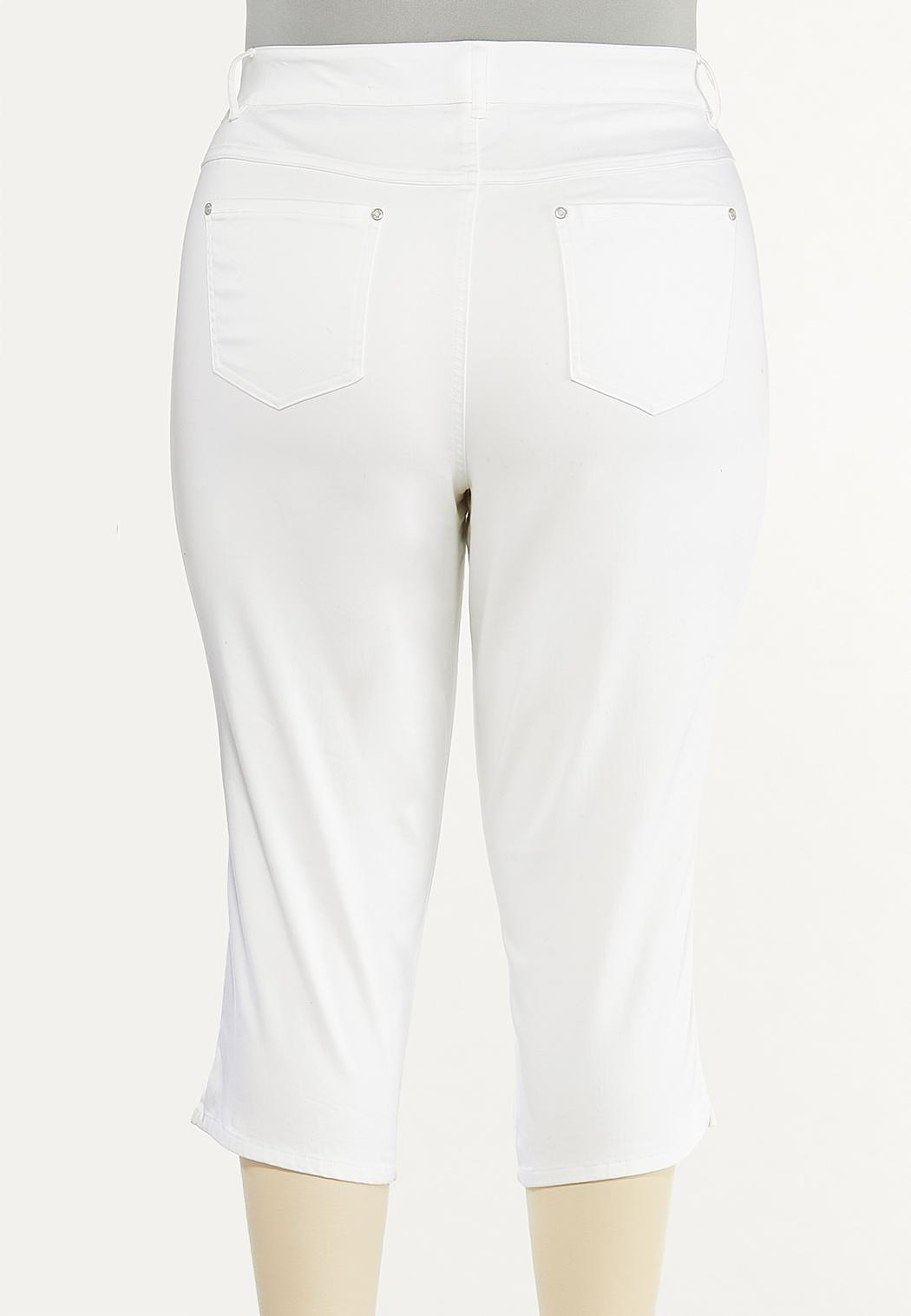 Plus Size Cropped White Jeans (Item #44508432)