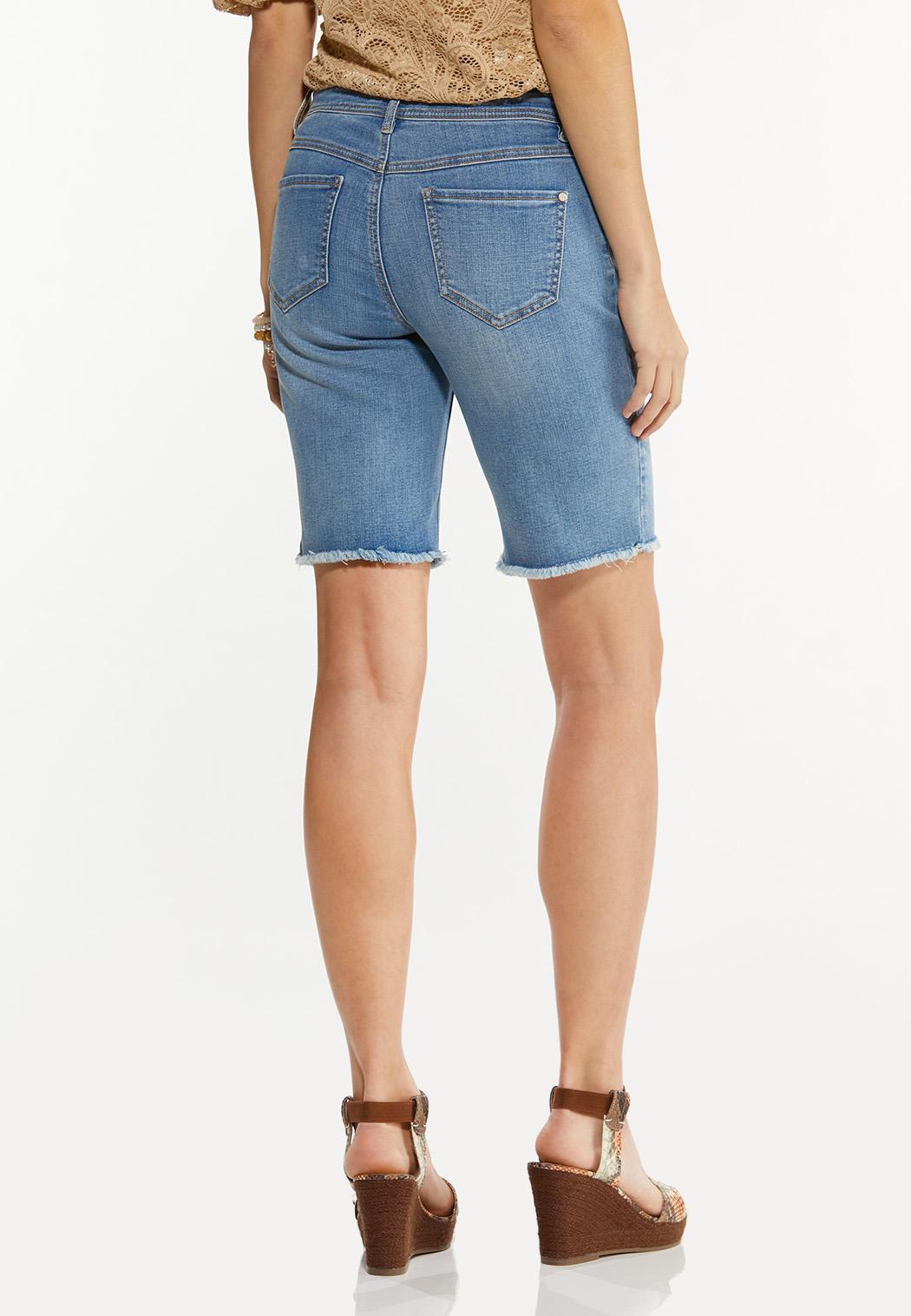 Frayed Denim Bermuda Shorts (Item #44508697)