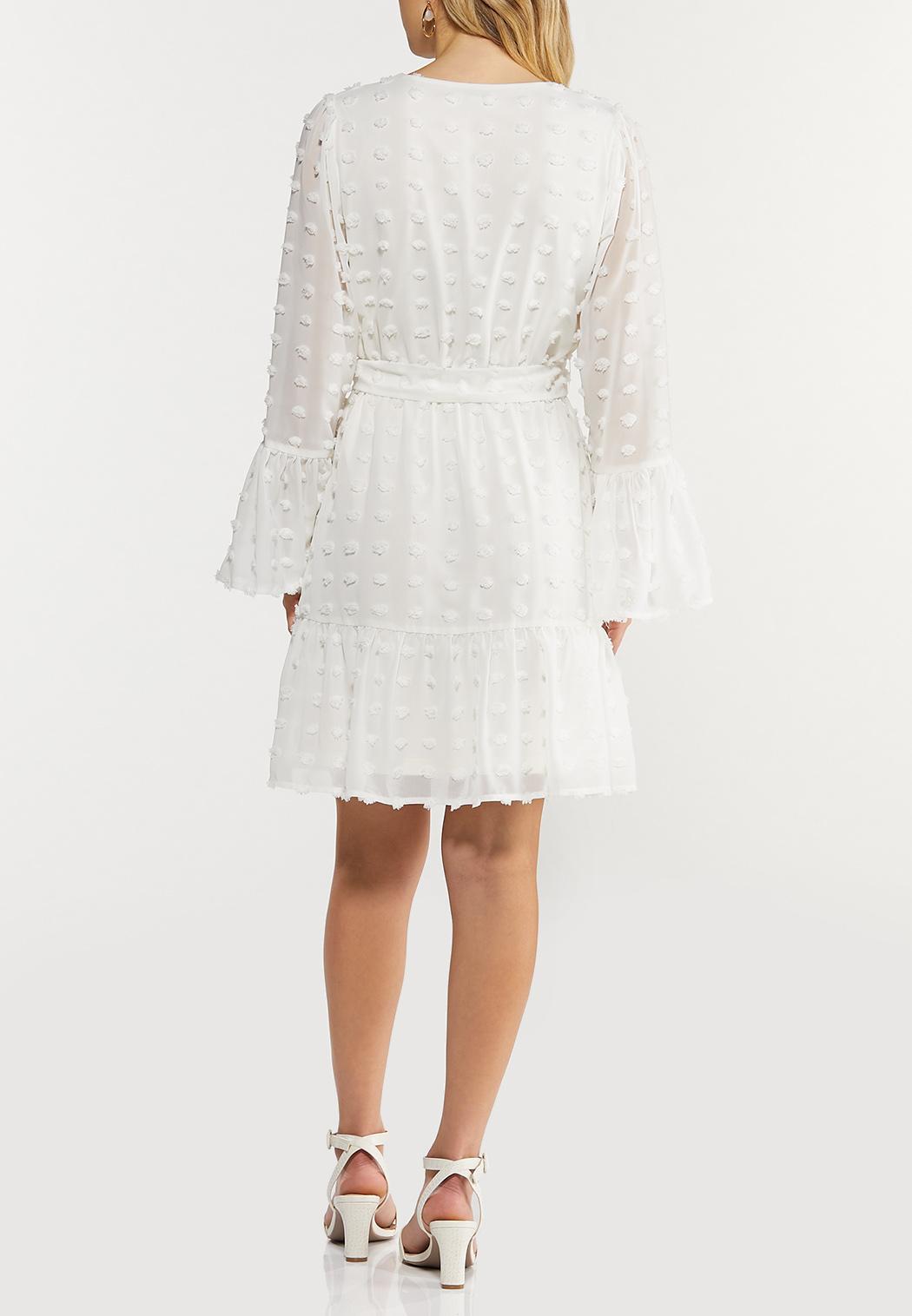 Textured Dot Faux Wrap Dress (Item #44508803)