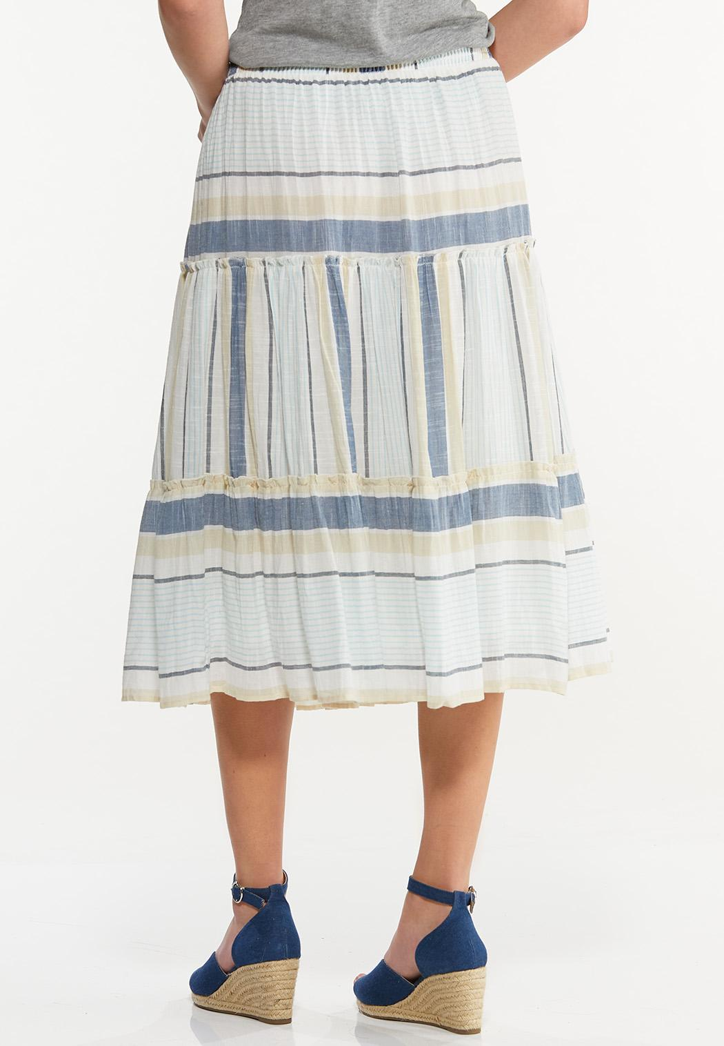 Plus Size Tiered Mixed Stripe Midi Skirt (Item #44508804)