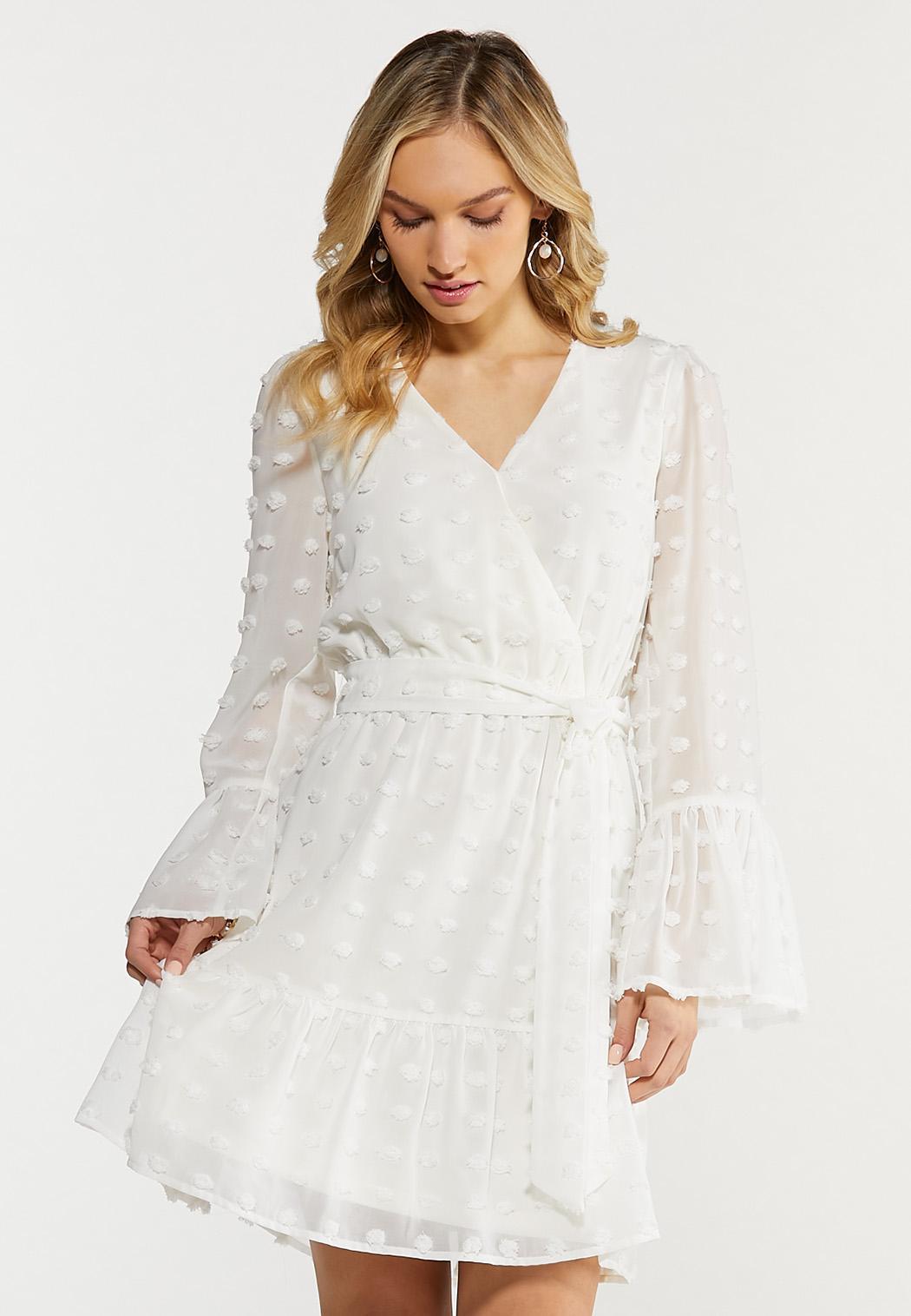 Plus Size Textured Dot Faux Wrap Dress (Item #44508830)