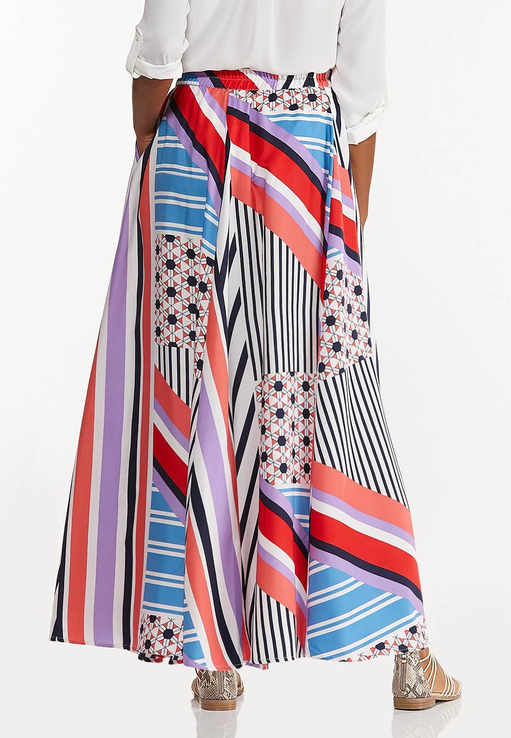 Geo Block Stripe Maxi Skirt (Item #44508833)