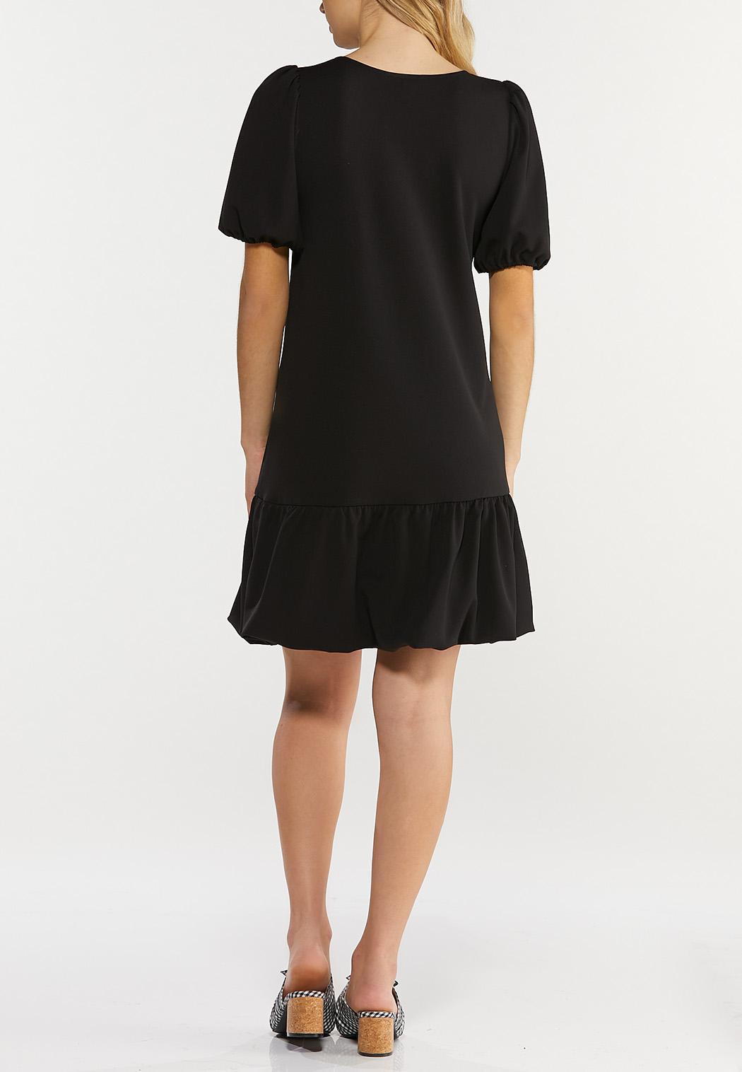 Plus Size Black Bubble Hem Dress (Item #44508944)