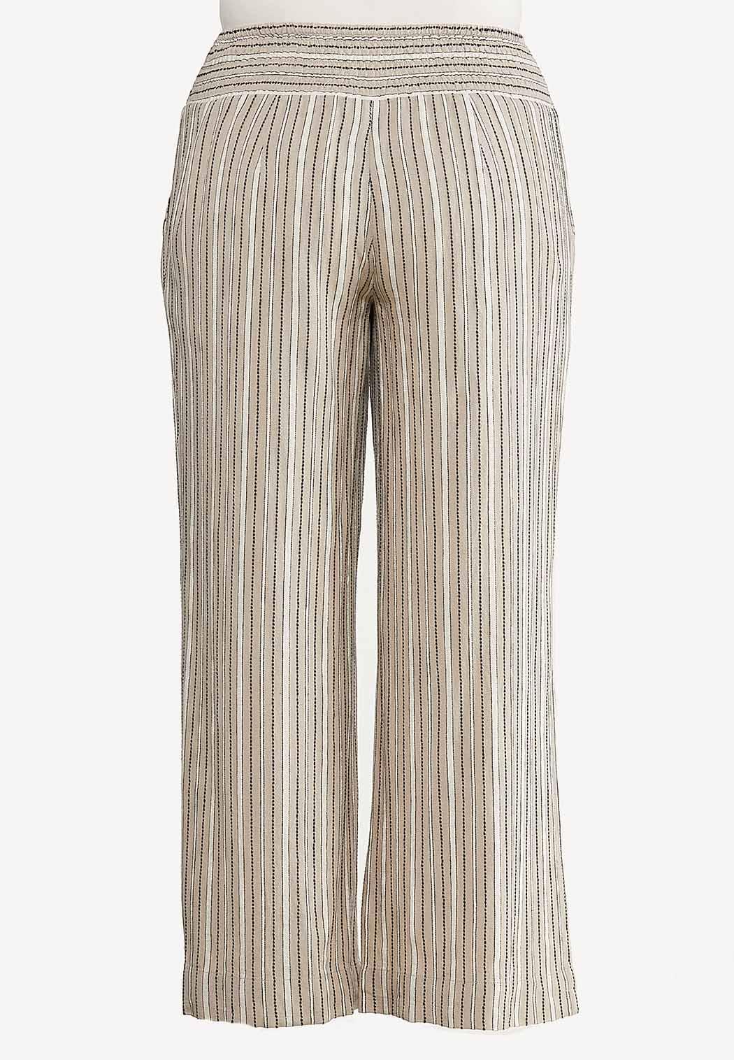 Plus Size Neutral Stripe Linen Pants (Item #44509337)