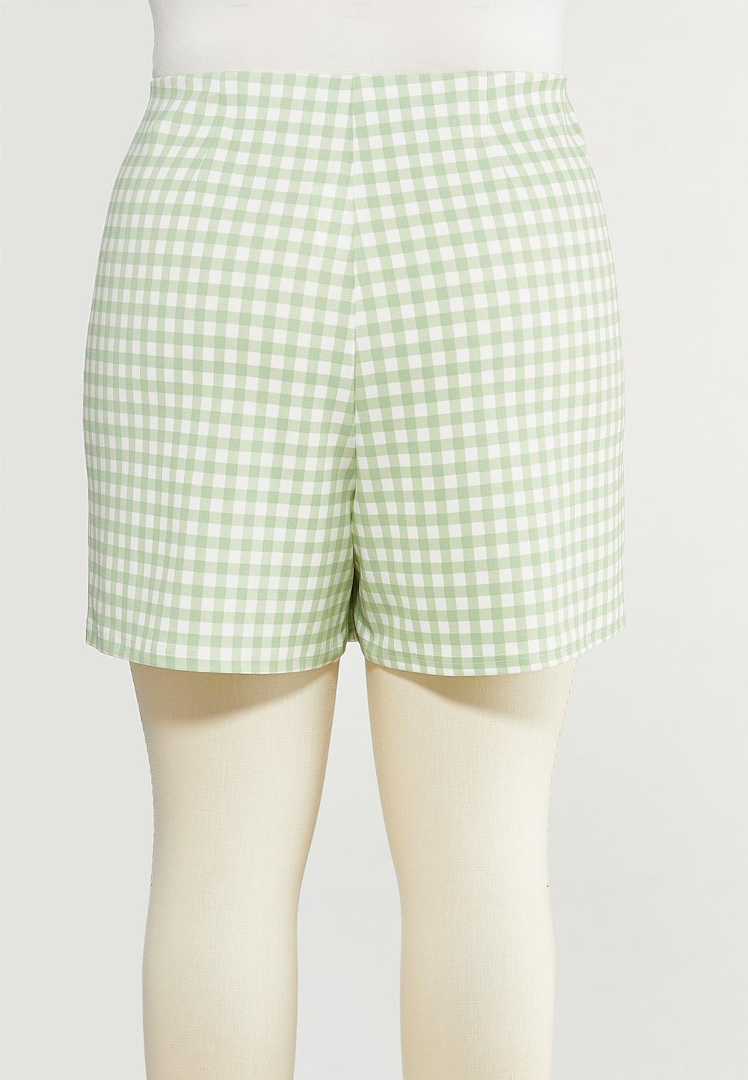 Plus Size Green Gingham Skort (Item #44509376)