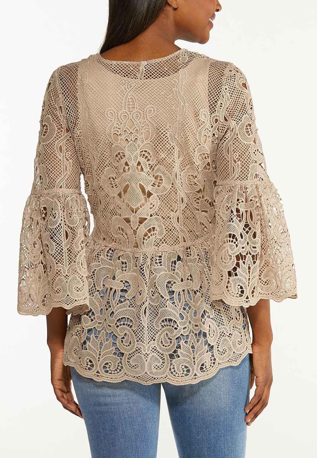 Plus Size Tan Crochet Peplum Top (Item #44509591)