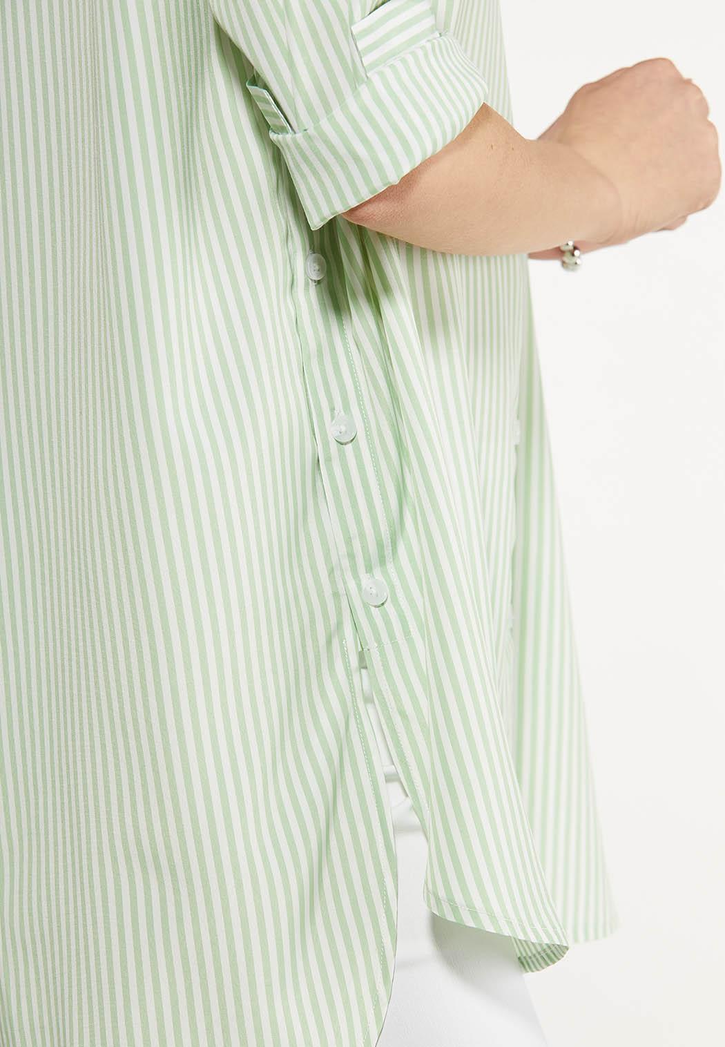 Plus Size Green Stripe Poplin Tunic (Item #44510037)