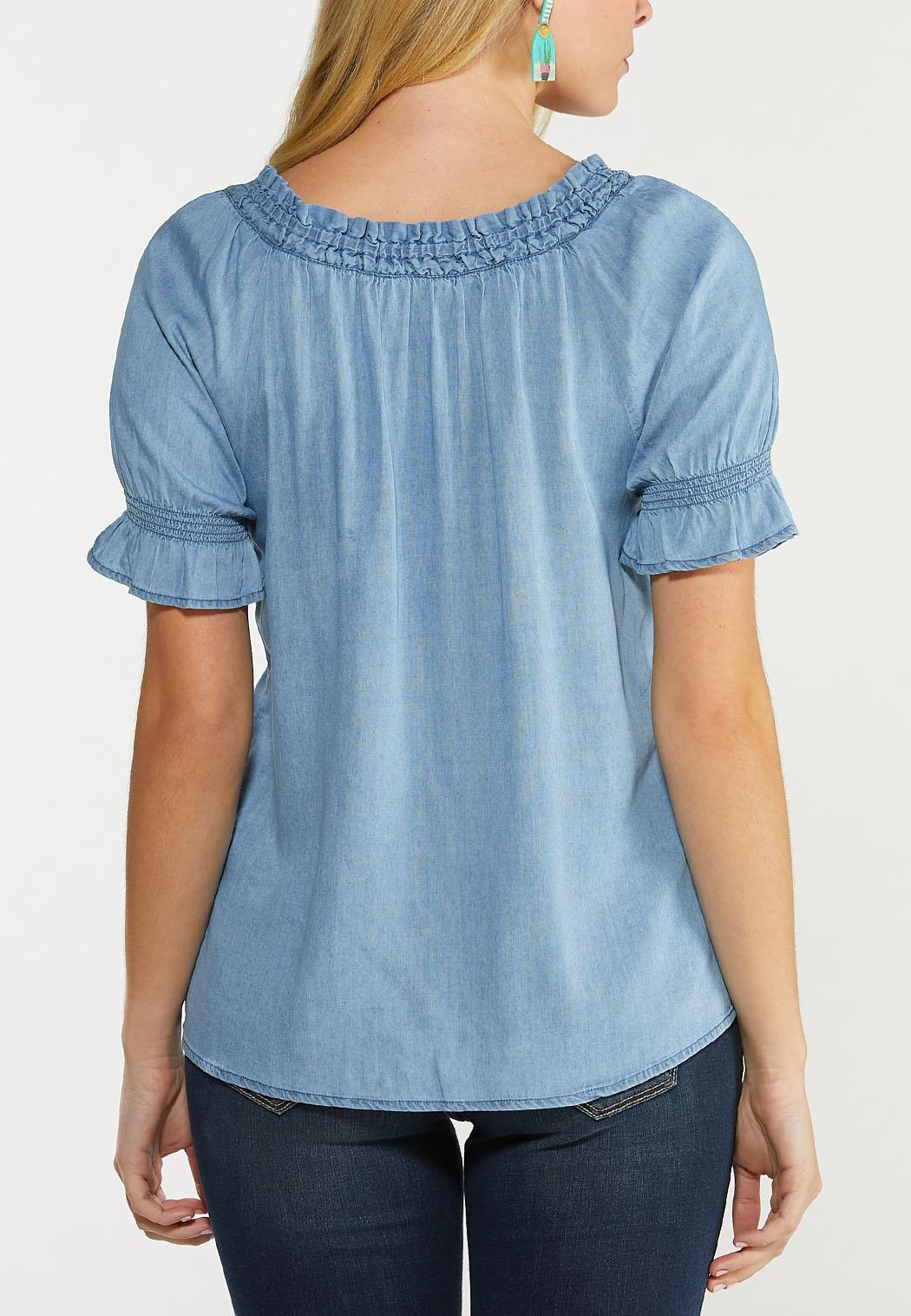 Ruched Chambray Top (Item #44510206)