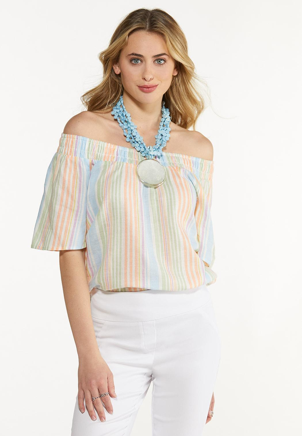 Plus Size Smocked Pastel Stripe Top (Item #44510307)