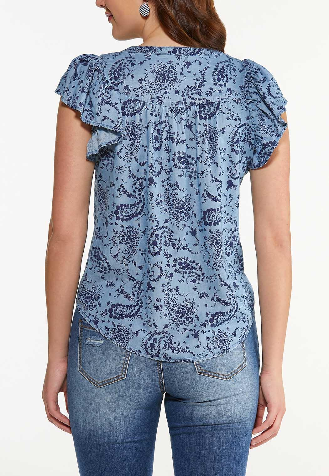 Plus Size Paisley Chambray Top (Item #44510349)