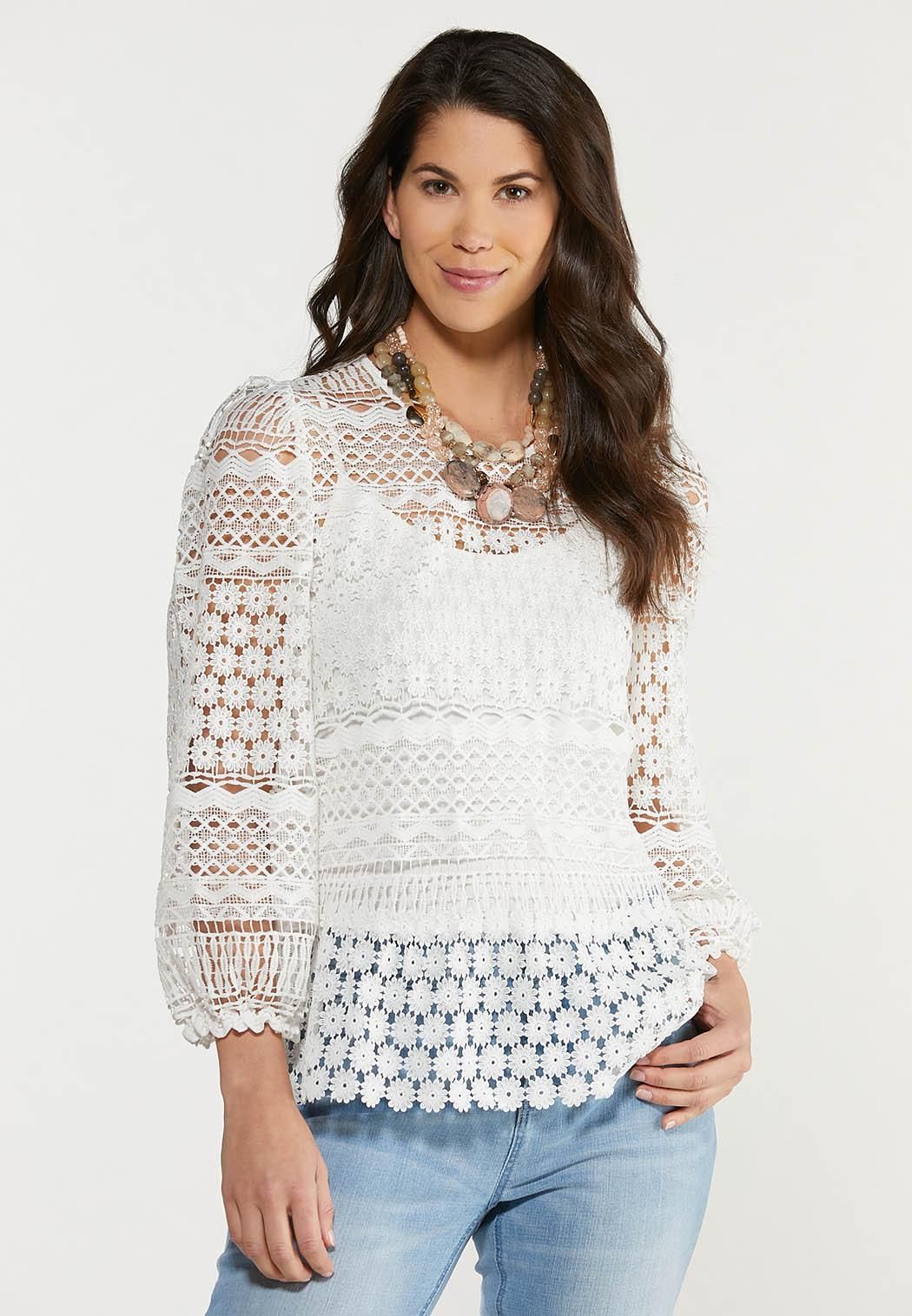 Plus Size White Crochet Top (Item #44510406)