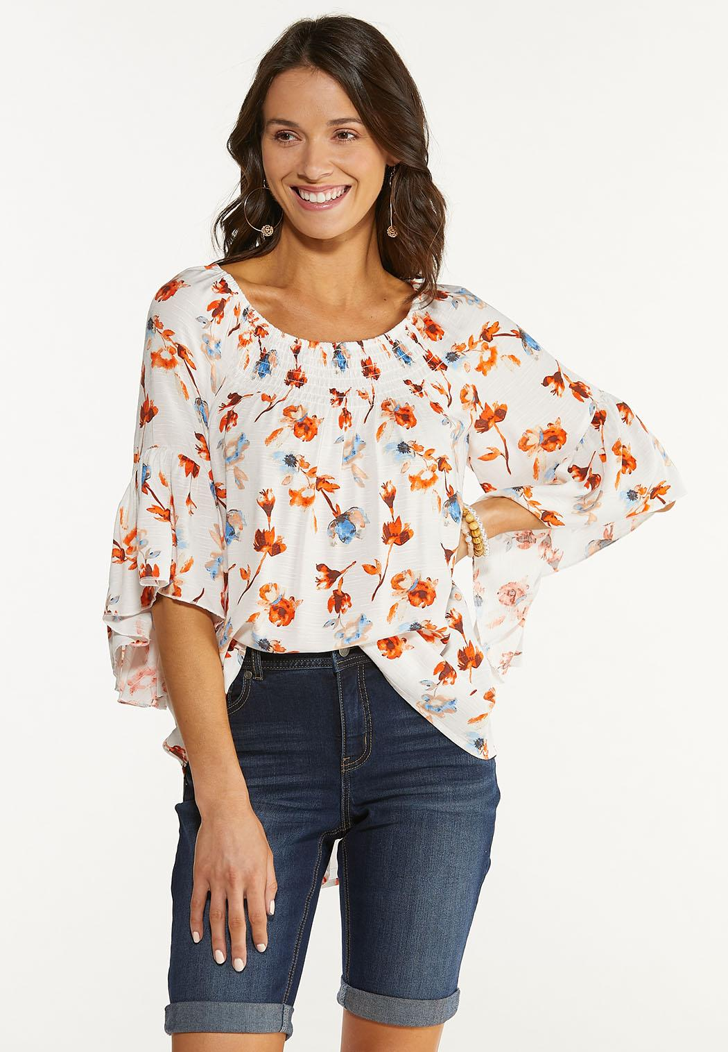 Plus Size Orange Floral Poet Top (Item #44510501)