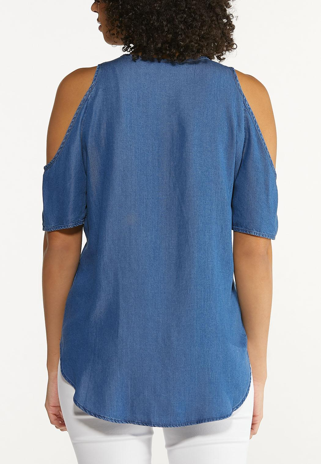 Chambray Cold Shoulder Top (Item #44510575)