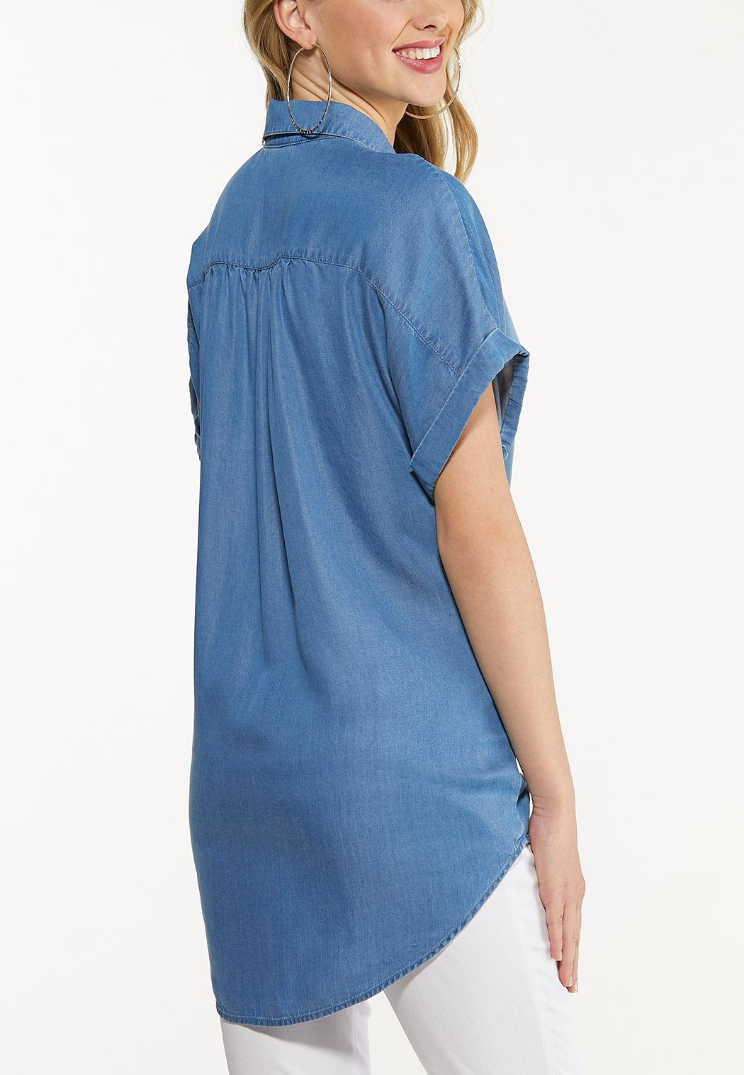 Plus Size Chambray Button Collar Tunic (Item #44510758)