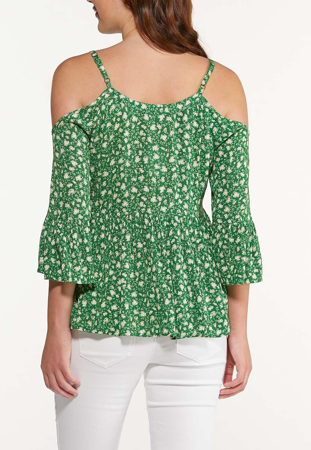 Plus Size Floral Cold Shoulder Top (Item #44510898)