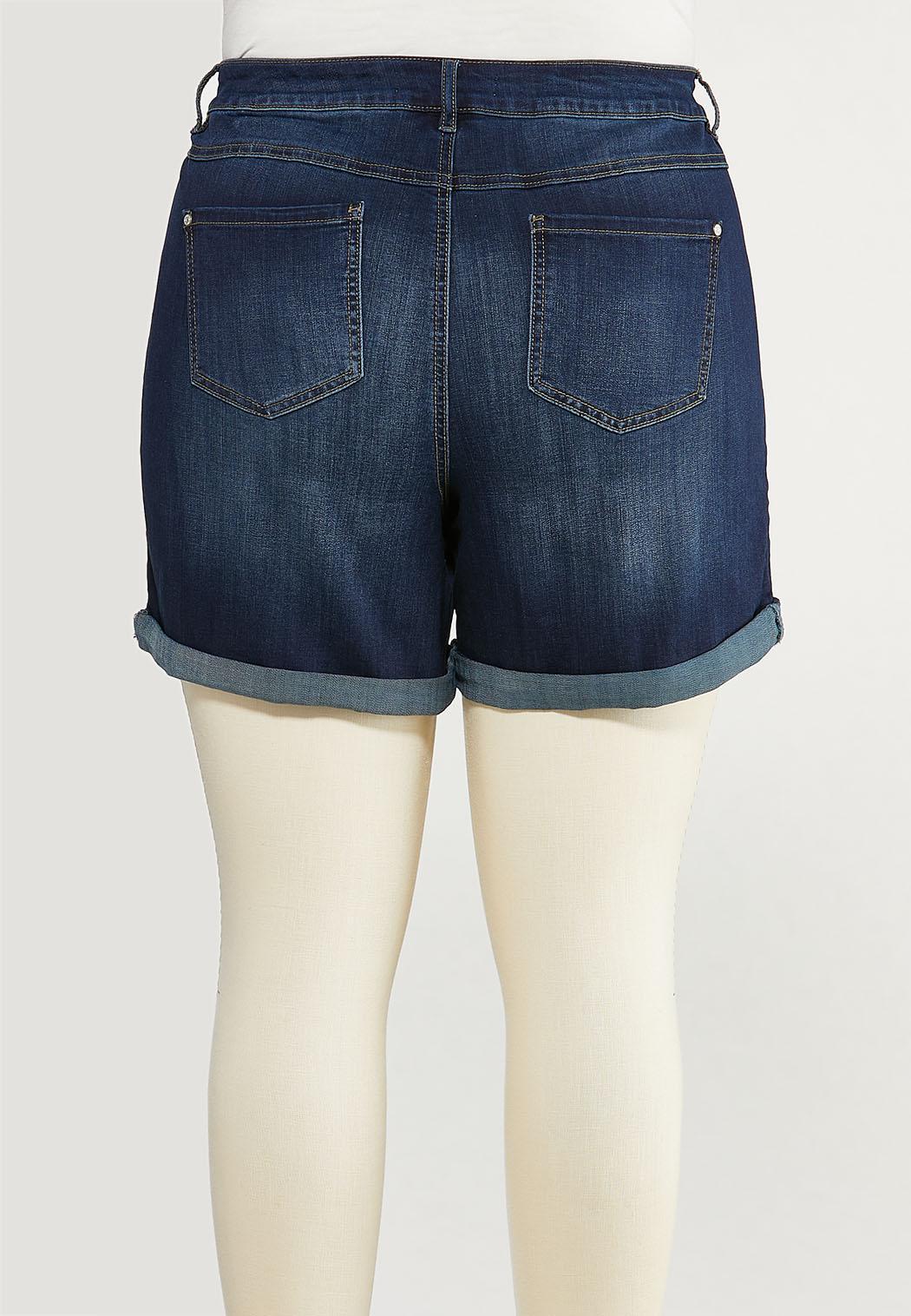 Plus Size Dark Denim Shorts (Item #44511173)