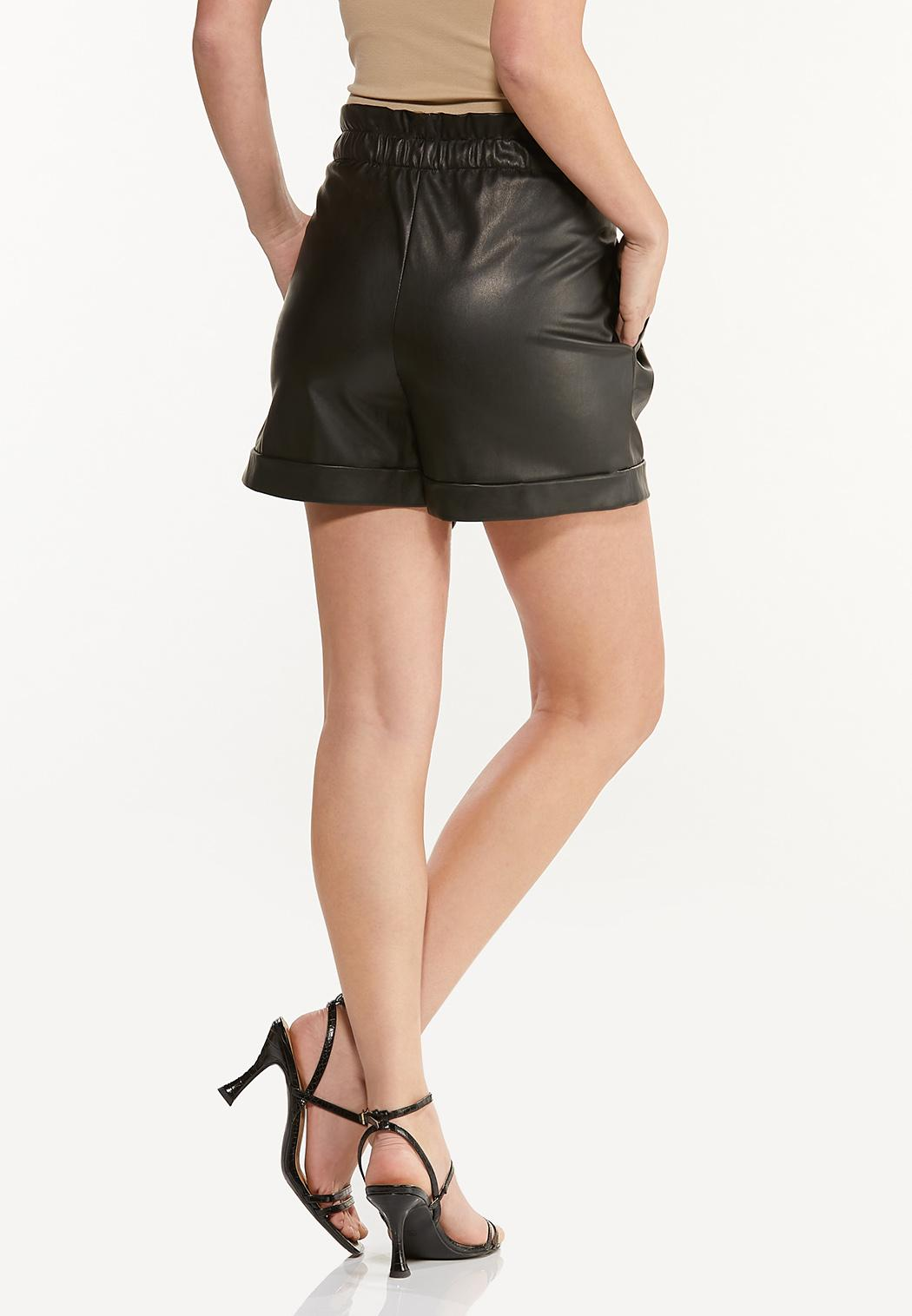 Faux Leather Paperbag Shorts (Item #44512257)