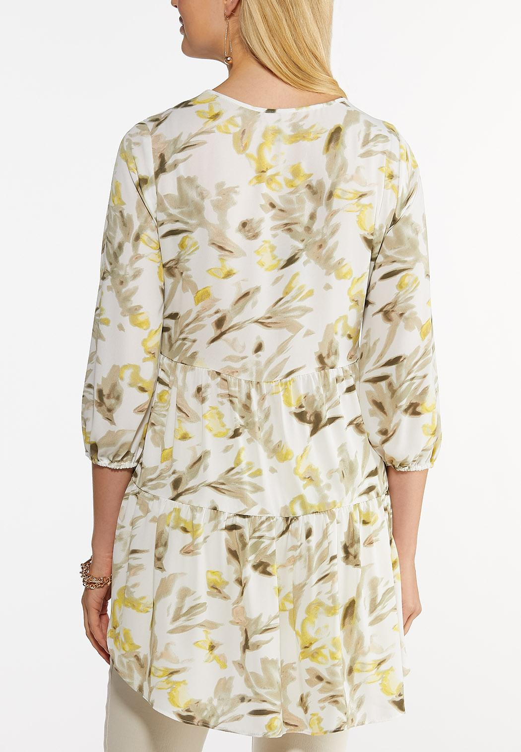 Plus Size Yellow Floral Tunic (Item #44512547)