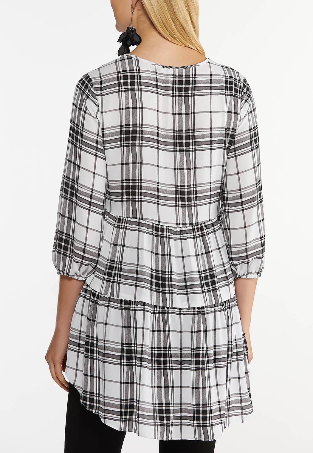 Plus Size Plaid Tiered Tunic (Item #44512553)