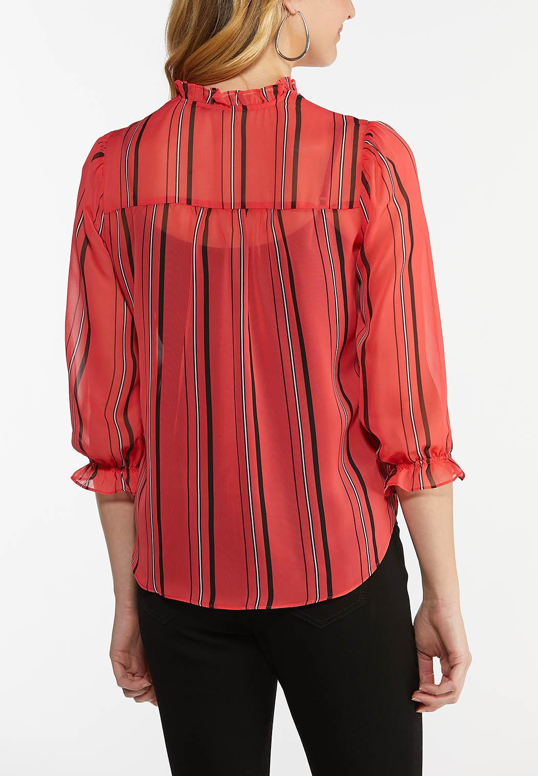 Plus Size Sheer Striped Top (Item #44512643)
