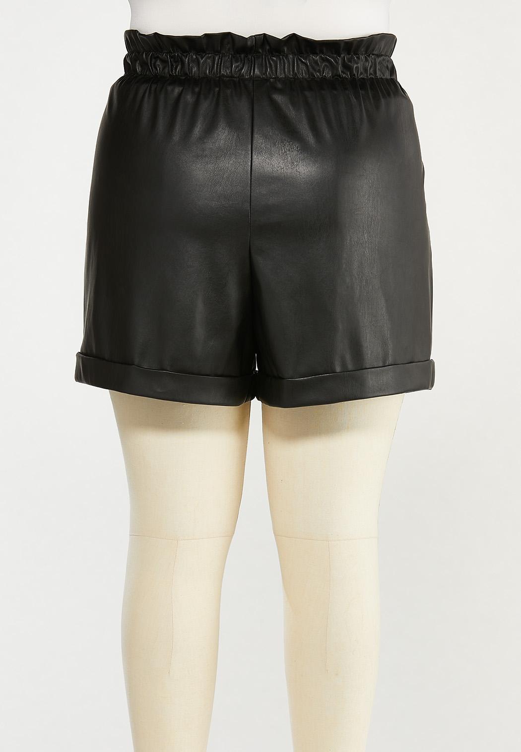 Plus Size Faux Leather Paperbag Shorts (Item #44512773)