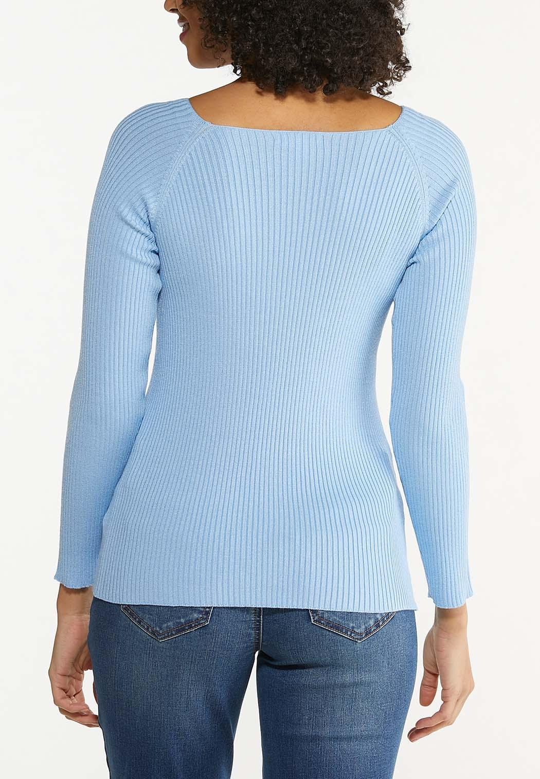 Plus Size Boat Neck Ribbed Sweater (Item #44512969)