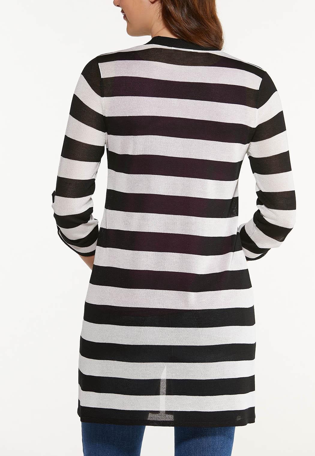 Plus Size Sheer Contrast Stripe Cardigan (Item #44512997)