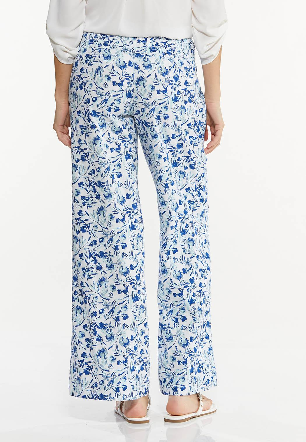Floral Linen Wide Leg Pants (Item #44513589)