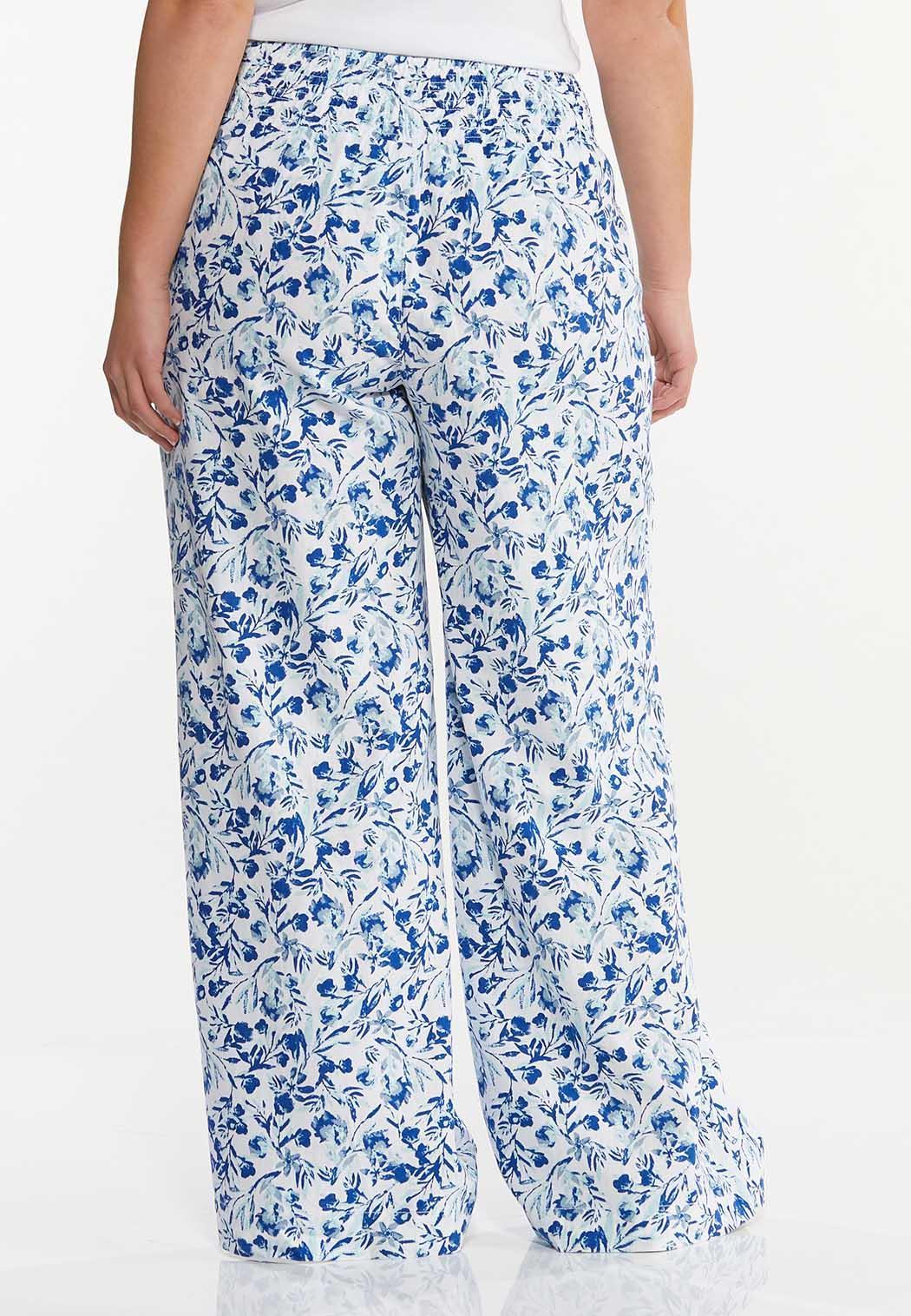 Plus Size Floral Linen Wide Leg Pants (Item #44513605)