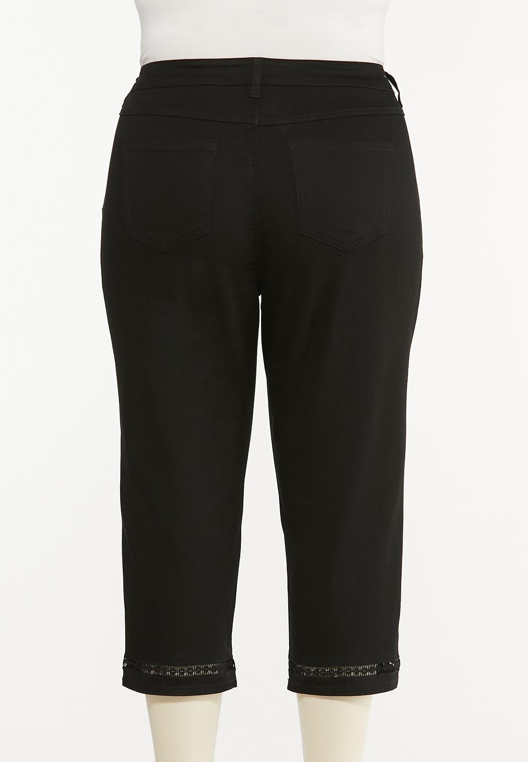 Plus Size Cropped Black Lattice Jeans (Item #44513940)