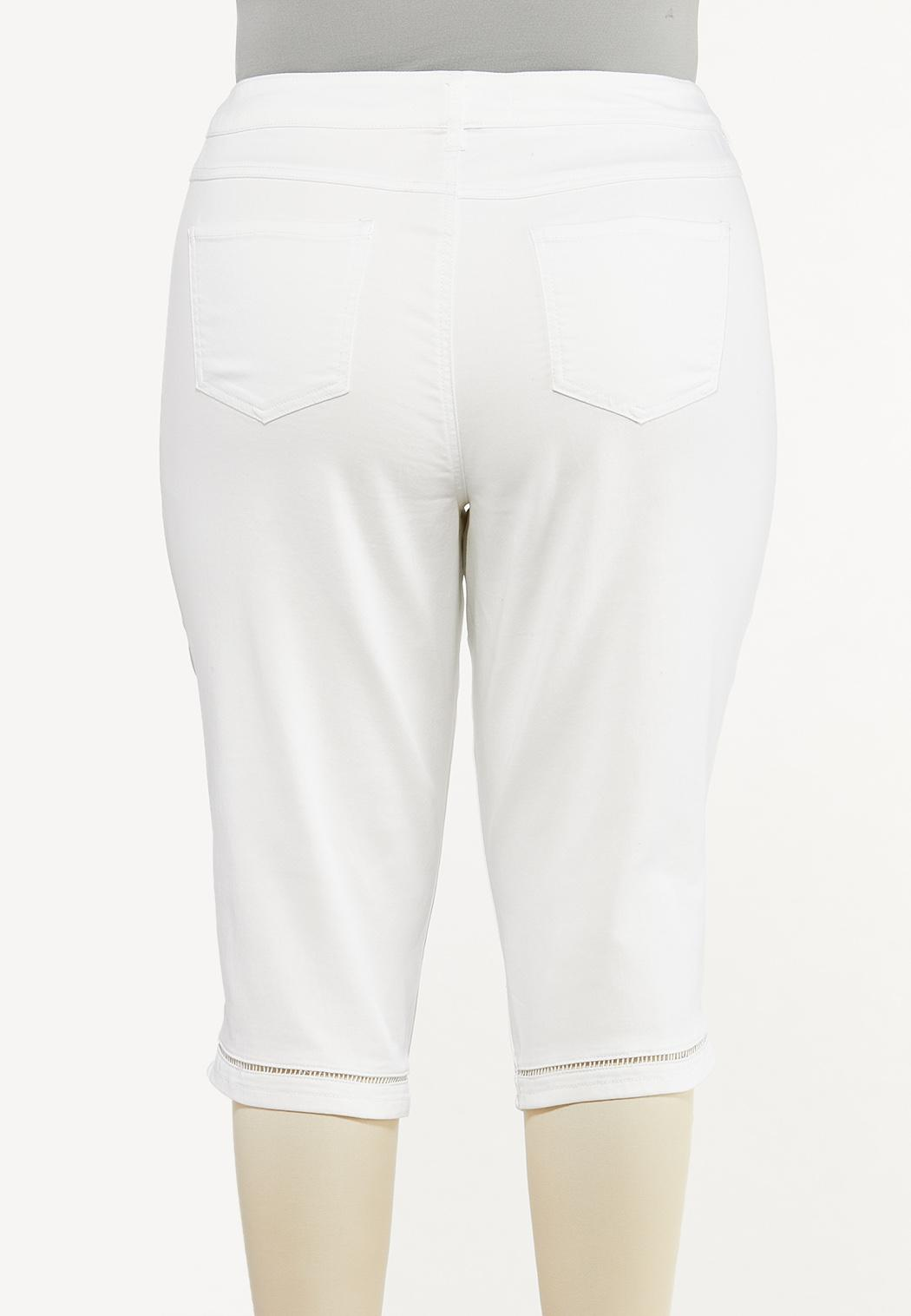 Plus Size Cropped Lattice Jeans (Item #44514108)