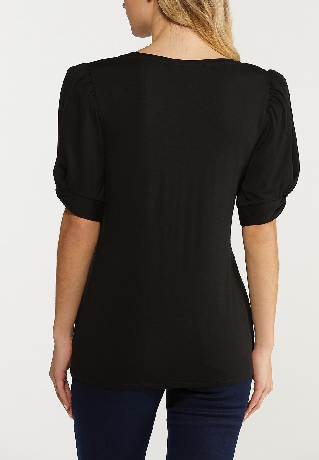 Black Twist Puff Sleeve Top (Item #44514472)