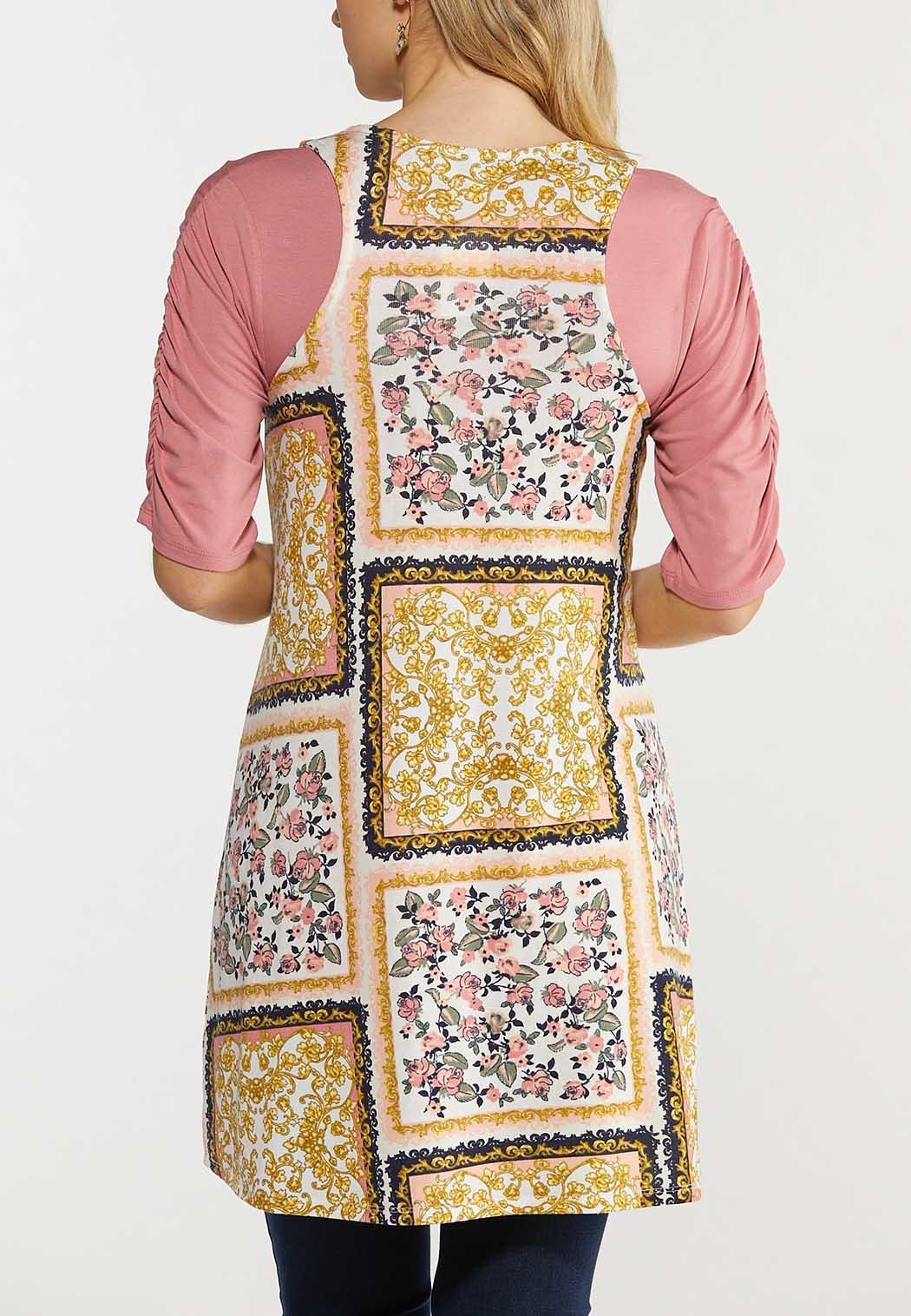 Plus Size Patchwork Floral Vest (Item #44514535)